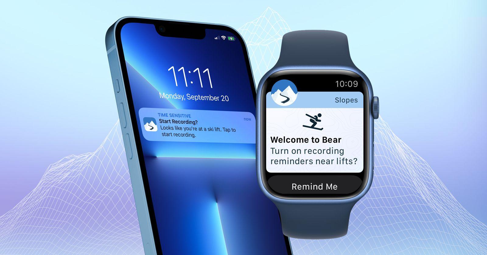 Slopes Smart Reminders watchOS 8, iOS15